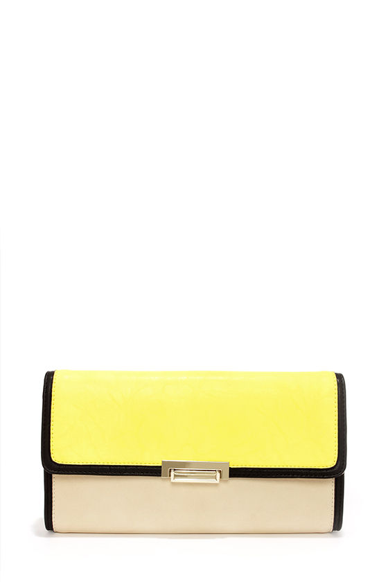 Color Block the Way Beige and Yellow Clutch at Lulus.com!