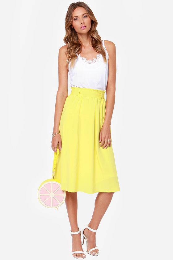 Pretty Chartreuse Skirt - Yellow Skirt - Midi Skirt - $49.00