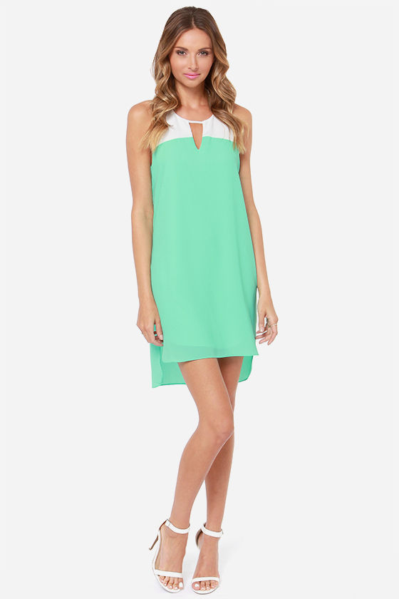 Yacht to Trot Ivory and Mint Shift Dress at Lulus.com!