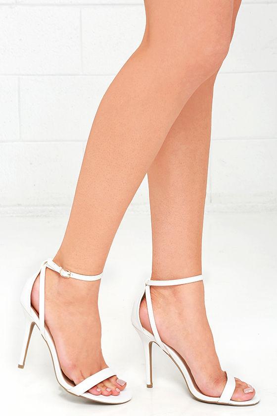 LULUS Remi White Snakeskin Ankle Strap Heels 1