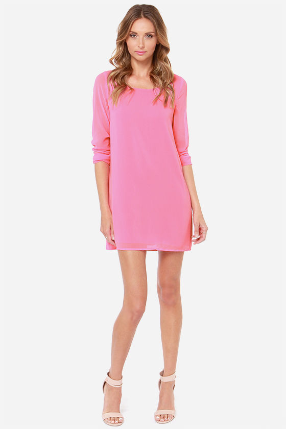 Lattice Dance Candy Pink Shift Dress at Lulus.com!