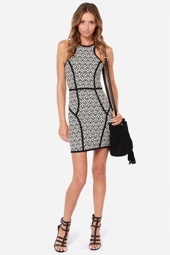 Not What It Seams Ivory and Black Print Dress at Lulus.com!