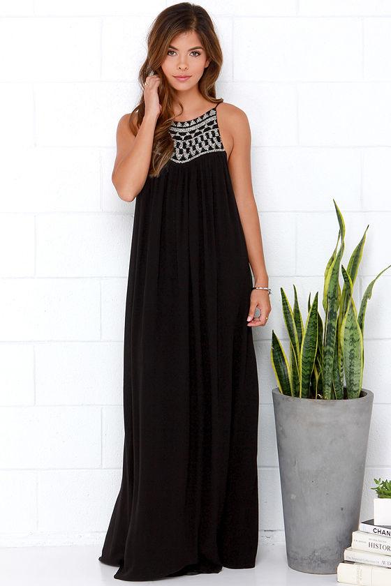 53af7b06fa Amuse Society Lotus Dress - Beaded Dress - Maxi Dress - Black Dress -  99.50