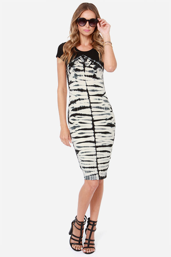 Olive & Oak Perfect Storm Cream and Black Midi Dress at Lulus.com!