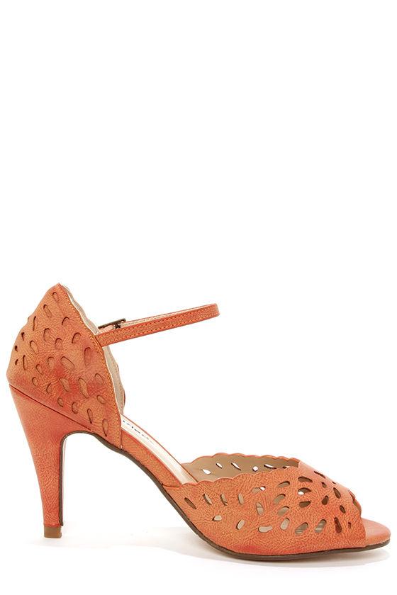 City Classified Kasey Orange Laser Cut Ankle Strap Heels at Lulus.com!