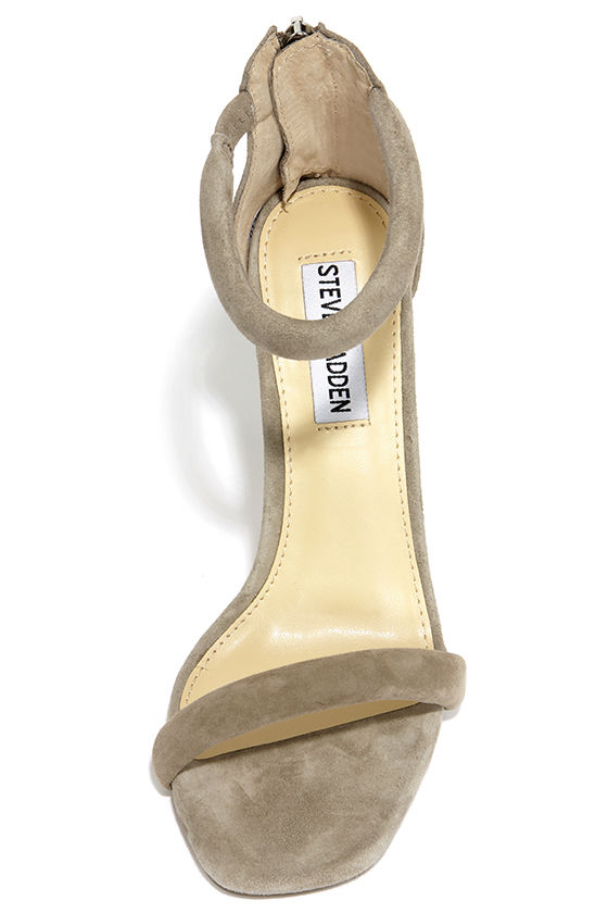 8f57ef655a538 Steve Madden Fancci Taupe Suede Ankle Strap Heels at Lulus!