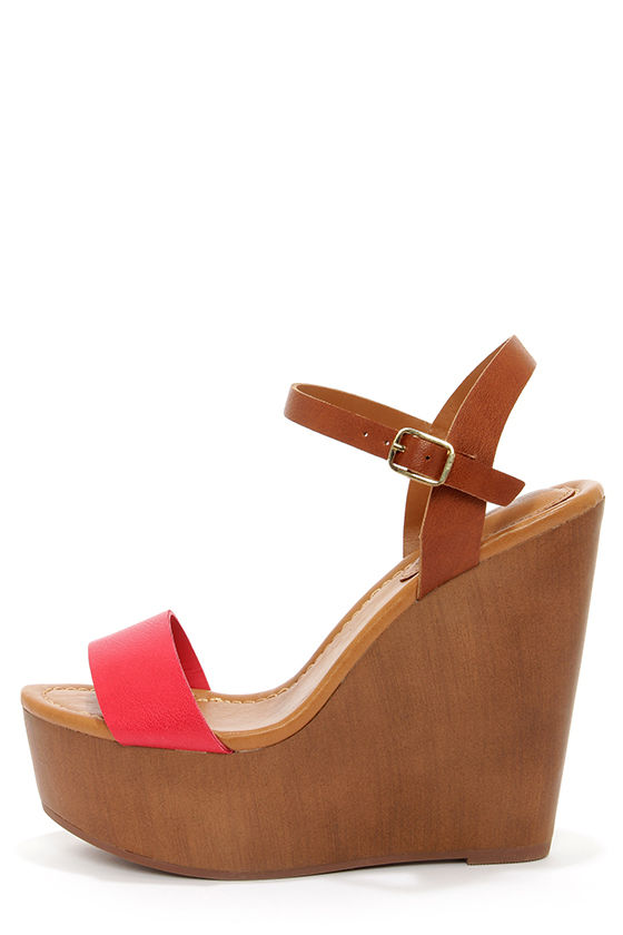 Emily 34 Pomegranate Red and Tan Platform Wedge Sandals at Lulus.com!