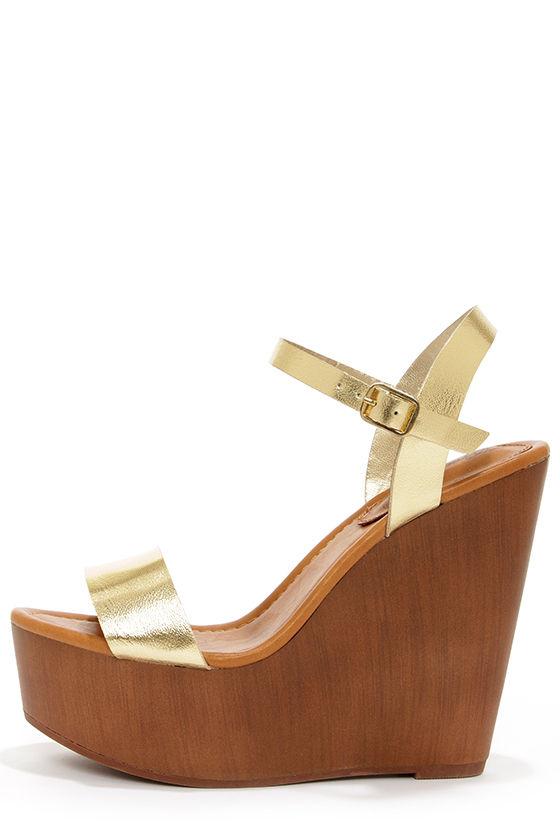 617982ae99da Cute Platform Wedges - Gold Shoes - Wedges Sandals -  30.00