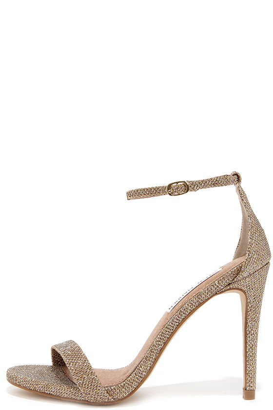 5d9d60bb5e Gold Heels - Ankle Strap Heels - Single Sole Heels - $79.00
