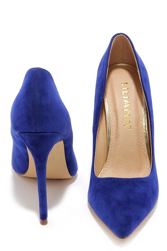 Sexy Blue Pumps - Pointed Pumps - Royal Blue Heels -  30.00