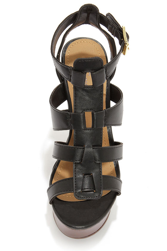 Carina 12 Black Caged Platform Wedge Sandals at Lulus.com!