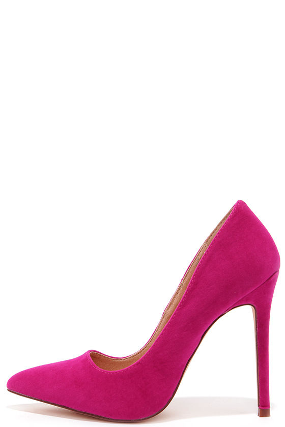 Sexy Fuchsia Pumps - Pointed Pumps - Fuchsia Pink Heels - $30.00
