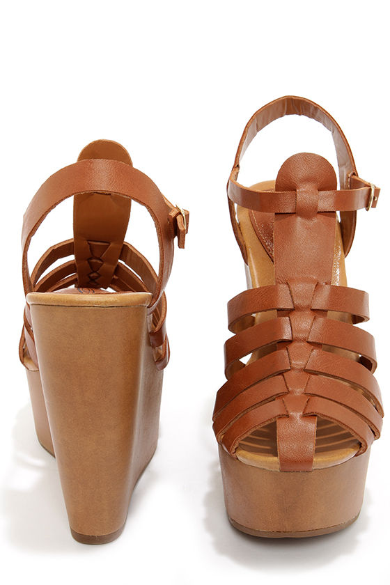 Carol 22 Tan Caged Platform Wedge Sandals at Lulus.com!