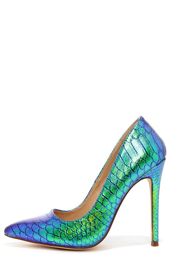 Green Pump Shoes Ladies