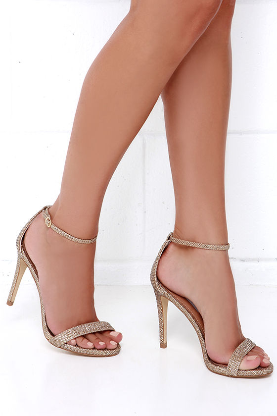 28d398e54b9e Gold Heels - Ankle Strap Heels - Single Sole Heels -  79.00