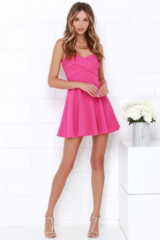Cute Fuchsia Dress - Strapless Dress - Skater Dress - $48.00