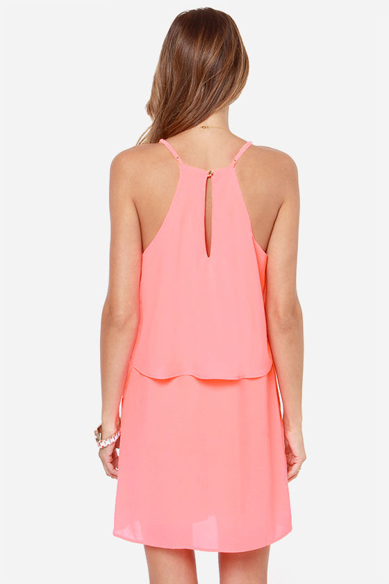 I'm All Tiers Neon Coral Dress at Lulus.com!