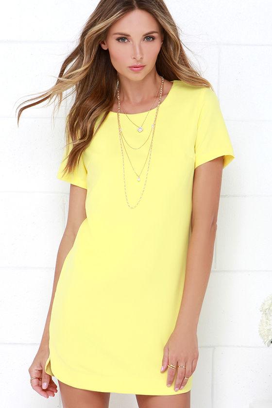 Yellow Dress - Shift Dress - Short Sleeve Dress - $49.00