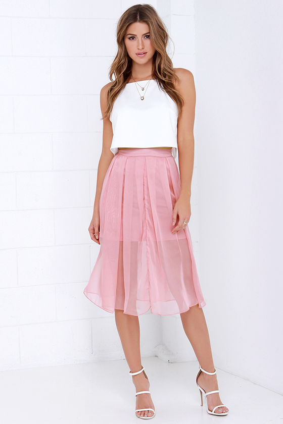 Lovely Dusty Rose Skirt - Midi Skirt - Pleated Skirt - $64.00