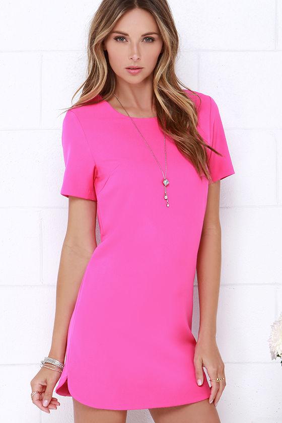 Fuchsia Dress - Shift Dress - Short Sleeve Dress - $49.00