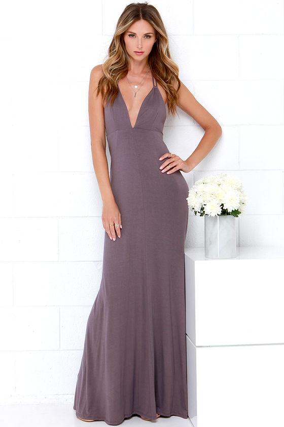 Purple halter maxi dress