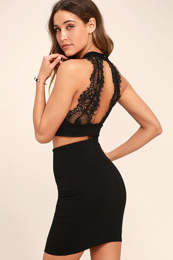 e3822b4a6b40 Chic My Interest Black Lace Two-Piece Dress