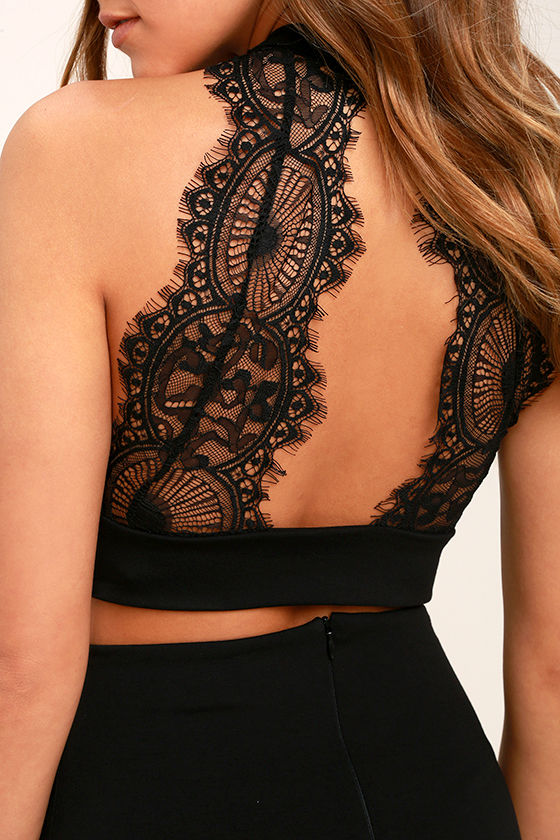 Chic My Interest Black Lace Two-Piece Dress 6