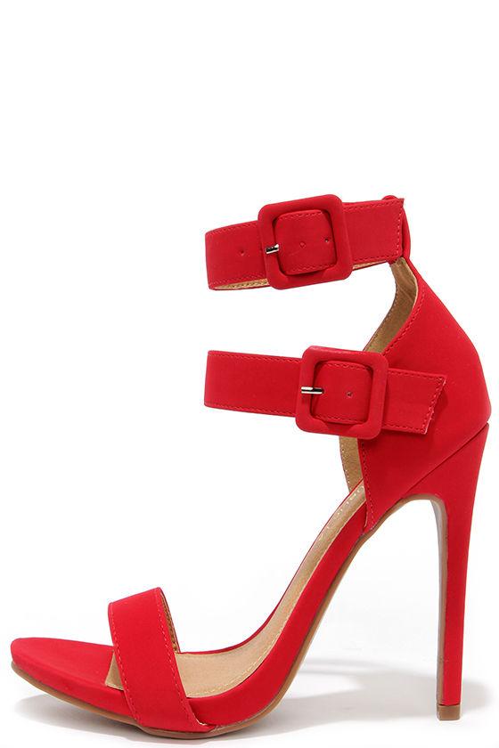 Cute Red Heels - Ankle Strap Heels - Dress Sandals - $39.00