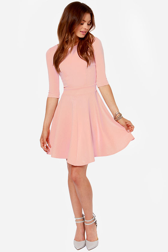 Cute Pink Dress Skater Dress Dress With Sleeves