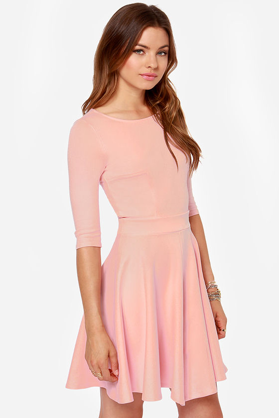 cute pink dress skater dress dress with sleeves 4900