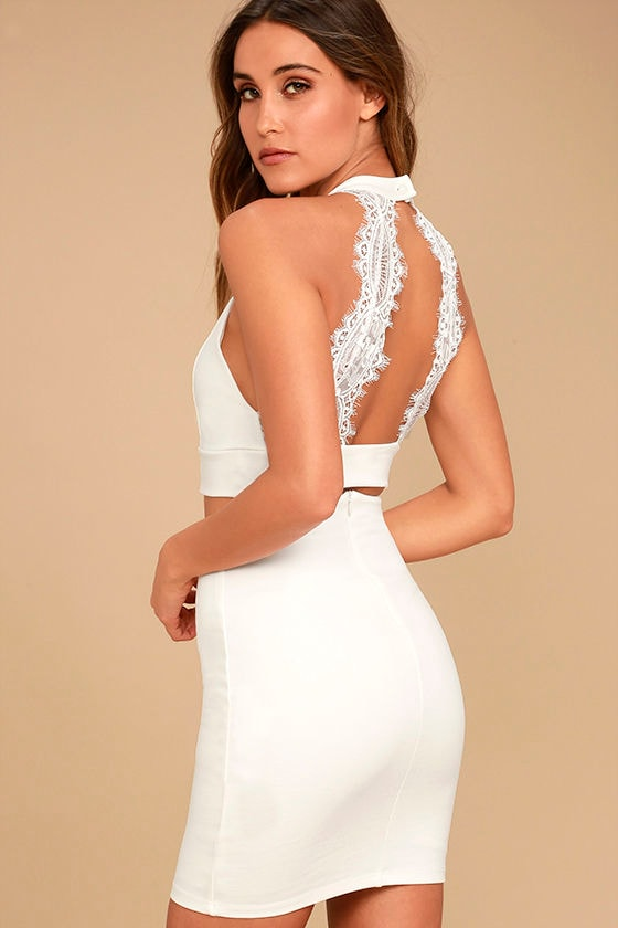 Sexy Ivory Two Piece Dress Lace Dress Bodycon Dress