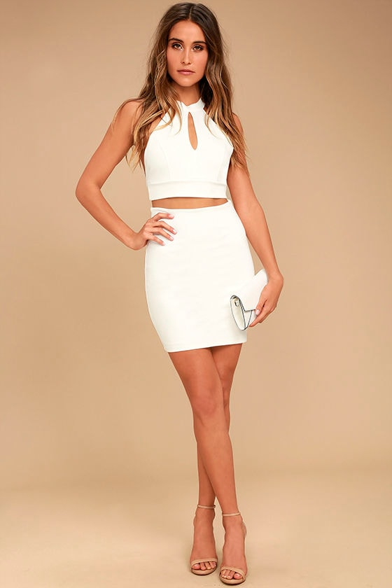 Chic My Interest Ivory Lace Two-Piece Dress 2