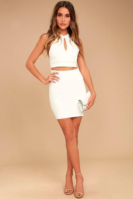 fac52464f348b Sexy Ivory Two Piece Dress - Lace Dress - Bodycon Dress