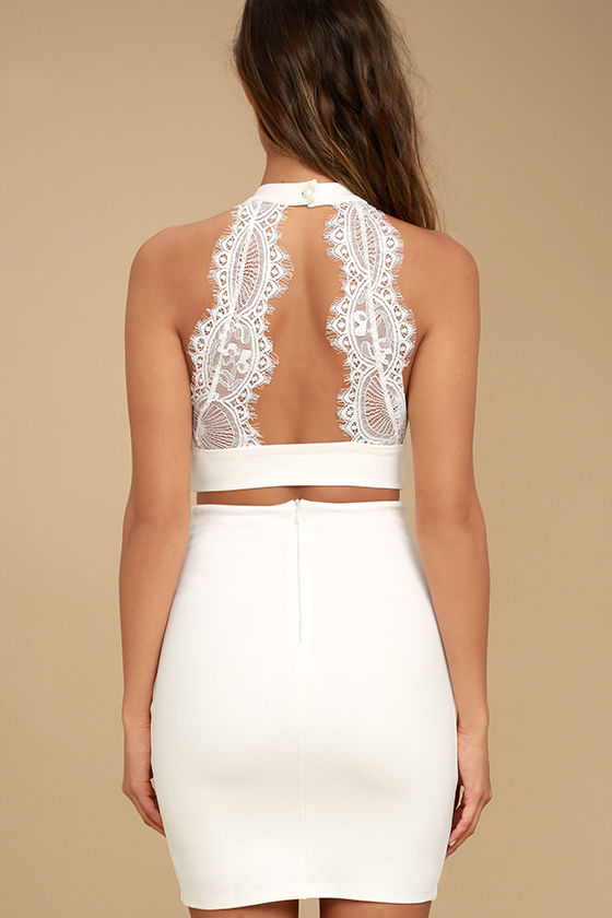 Chic My Interest Ivory Lace Two-Piece Dress 4