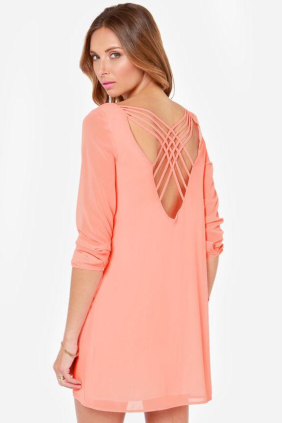 Light pink long sleeve shift dress