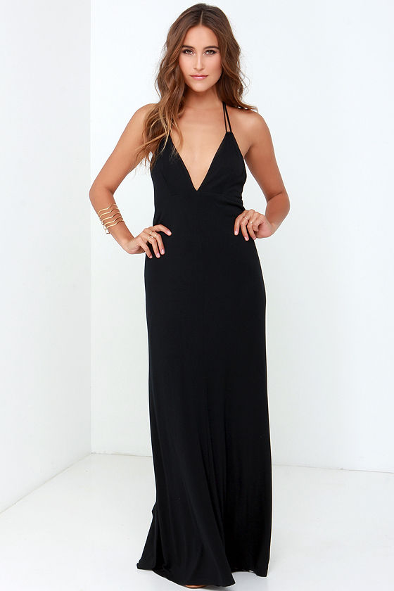 Black Dress - Maxi Dress - Halter Dress - $48.00