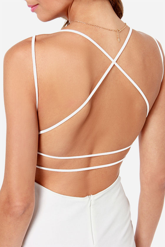 Be-All Trend-All Backless Ivory Midi Dress at Lulus.com!
