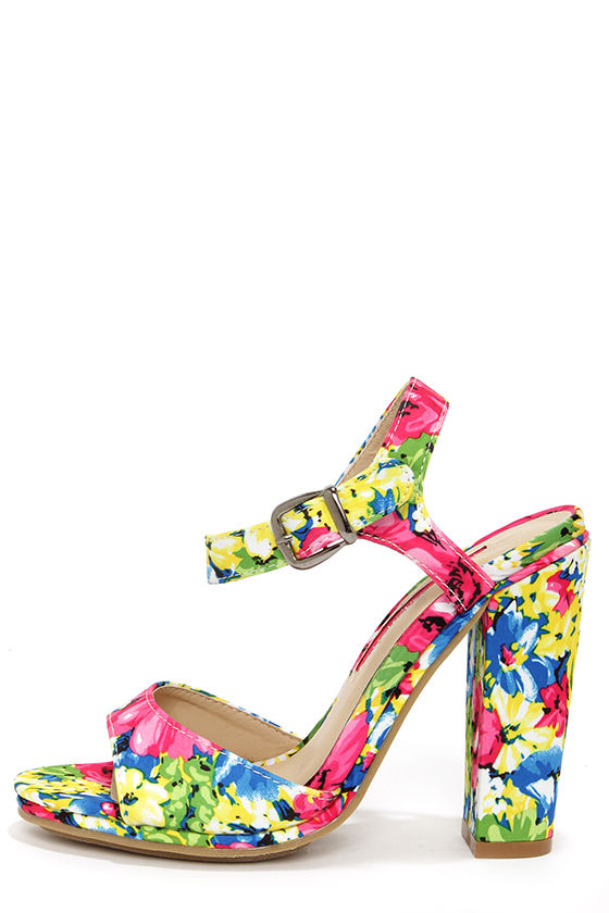 2b178403469f24 Cute Floral Print Heels - High Heel Sandals - $47.00