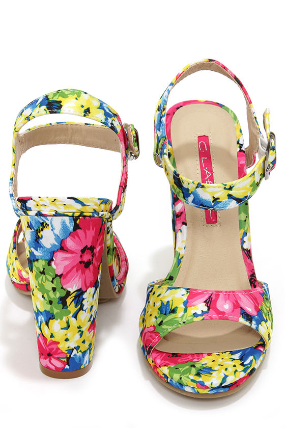 C Label Cherish 1 Multi Floral Print High Heel Sandals at Lulus.com!