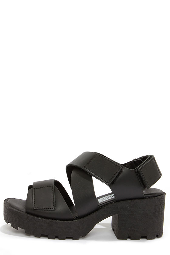 Cute Black Shoes - Platform Sandals - Chunky Sandals -  85.00