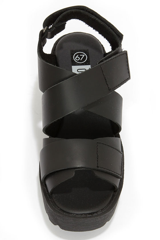67 Outsider 76109 Sibel Vachetta Black Platform Sandals at Lulus.com!