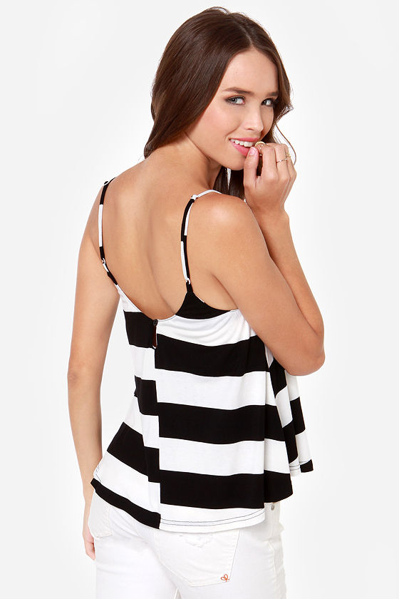 When the Mood Stripes Black and Ivory Striped Tank Top at Lulus.com!