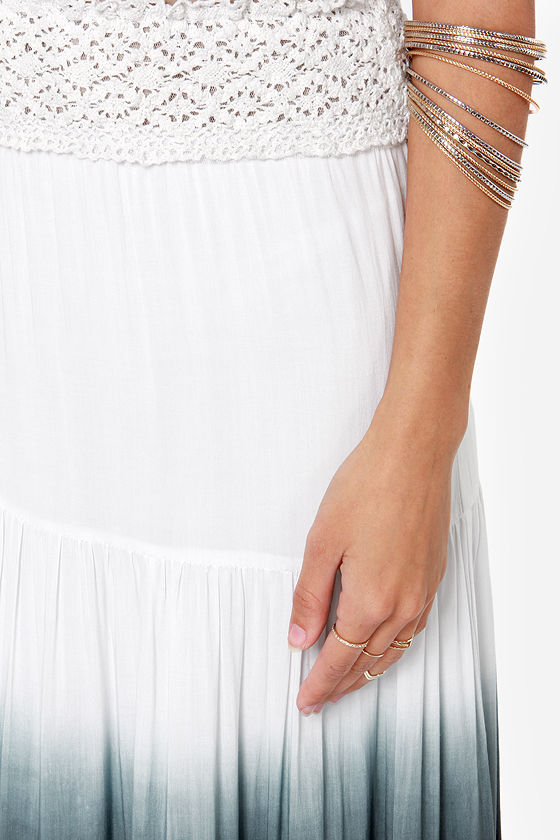 Stormy Tides Ivory and Black Ombre Maxi Skirt at Lulus.com!