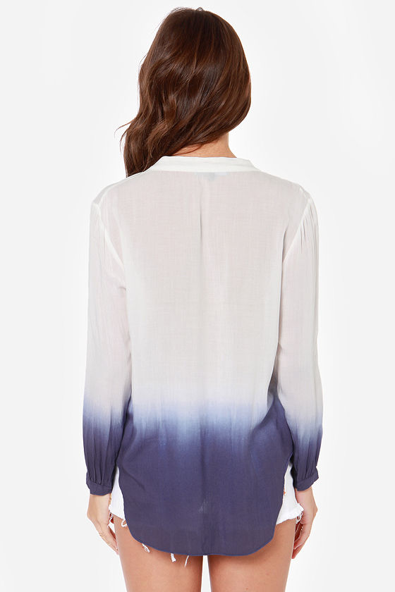 Maid in the Fade Ivory and Blue Ombre Top at Lulus.com!