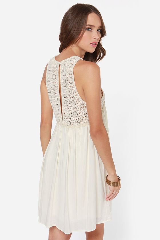 Harmonious Happenings Cream Crochet Dress at Lulus.com!