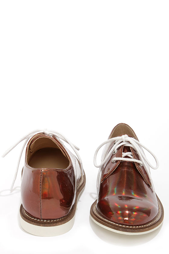 Luichiny Lucky Girl Rose Gold Pear Oxford Flats at Lulus.com!