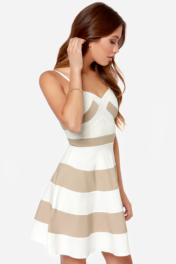 LULUS Exclusive Band and Deliver Beige and Ivory Dress at Lulus.com!