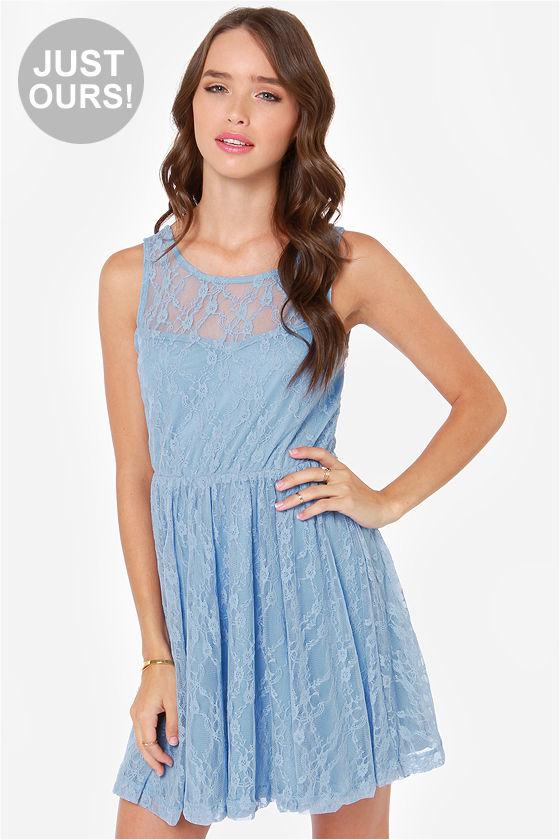 Cute Periwinkle Dress - Lace Dress - Skater Dress - $47.00