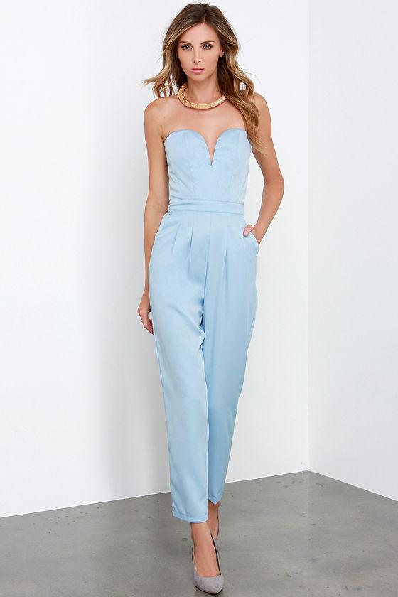 Stylish Light Blue Jumpsuit Strapless Jumpsuit Boned