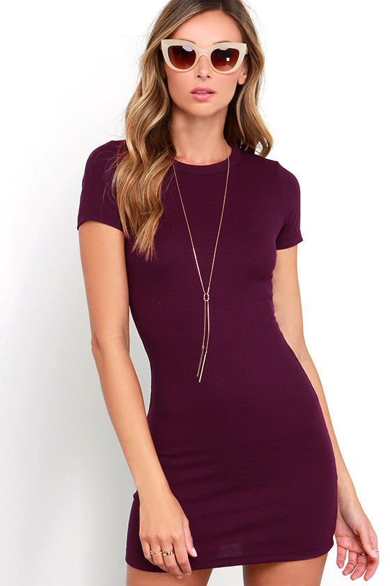 Plum purple bodycon dress valley fair mall